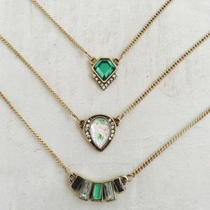 Emerald green layered necklace